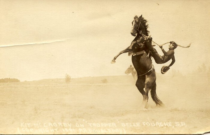 Kit McCrory on Tropper, Belle Fourche, 1921