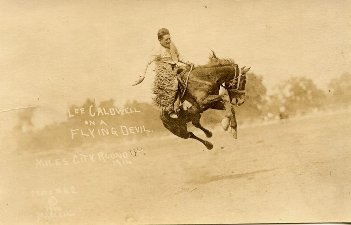 Lee Caldwell On A Flying Devil, Miles City Roundup, 1914