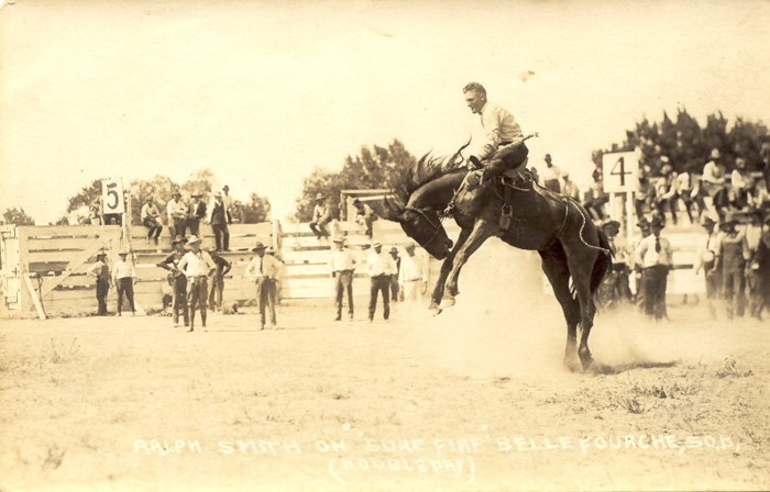 Ralph Smith on Sure Fire, Belle Fourche, 1921